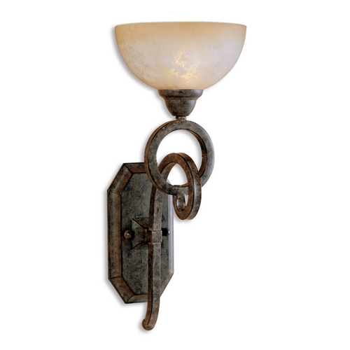 Uttermost Lighting Sconce Wall Light with Beige / Cream Glass in Chestnut Brown Finish 22430