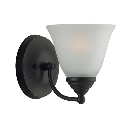 Sea Gull Lighting Sconce Wall Light with White Glass in Heirloom Bronze Finish 44575-782
