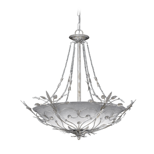 Crystorama Lighting Crystal Pendant Light with Amber Glass in Silver Leaf Finish 4700-SL