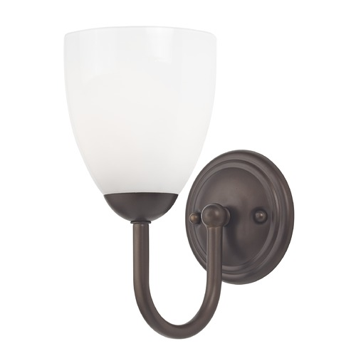 Design Classics Lighting Sconce with White Glass in Bronze Finish 593-220 GL1024MB
