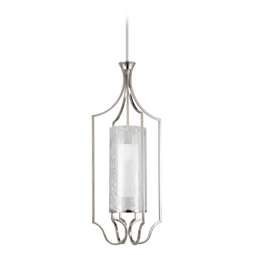Progress Lighting Progress Pendant Light with White Glass in Polished Nickel Finish P3947-104