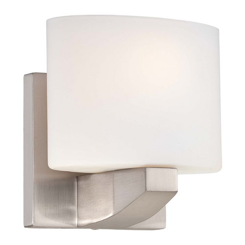 Minka Lavery Modern Sconce Wall Light with White Glass in Brushed Nickel Finish 5241-84