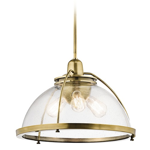 Kichler Lighting Kichler Lighting Silberne Natural Brass Pendant Light with Bowl / Dome Shade 43739NBR