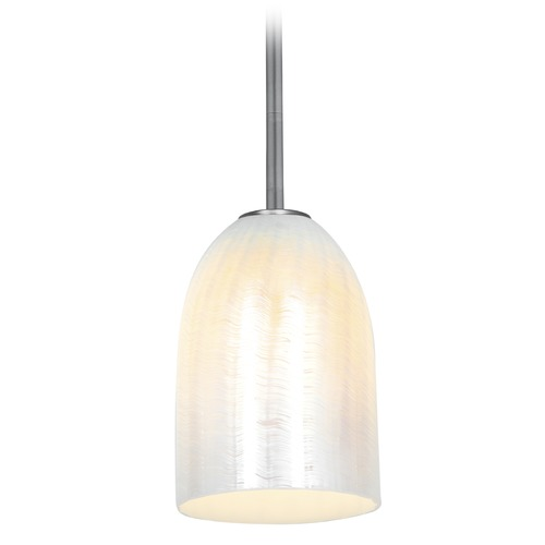 Access Lighting Access Lighting Bordeaux Brushed Steel LED Mini-Pendant Light with Bowl / Dome Shade 28018-3R-BS/WWHT