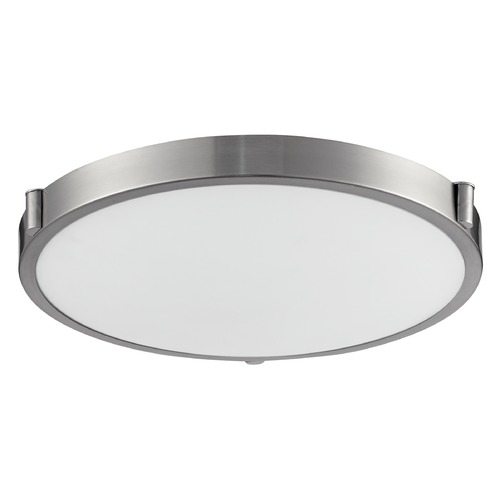 Kuzco Lighting Modern Brushed Nickel LED Flushmount Light with White Opal Shade 3000K 850LM 501122-LED