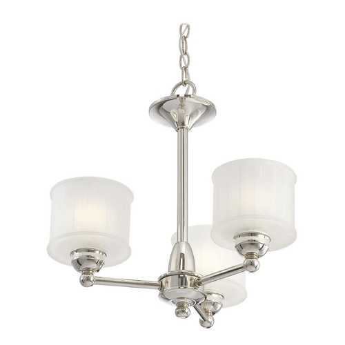 Minka Lighting Chandelier with White Glass in Polished Nickel Finish 1733-613
