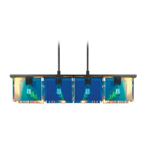 Sonneman Lighting Modern Pendant Light with Multi-Color Glass in Black Brass Finish 3174.51