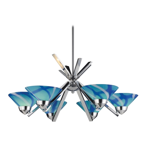 Elk Lighting Modern Chandelier with Blue Glass in Polished Chrome Finish 1475/6CAR
