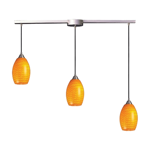 Elk Lighting Modern Multi-Light Pendant Light with Yellow Glass and 3-Lights 517-3L-CN