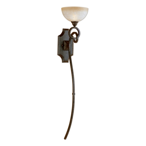 Uttermost Lighting Sconce Wall Light with Beige / Cream Glass in Chestnut Brown Finish 22431