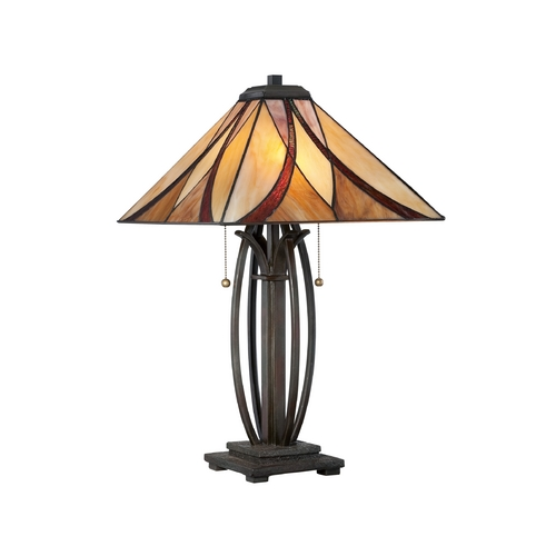 Quoizel Lighting Table Lamp with Tiffany Glass in Valiant Bronze Finish TF1180TVA