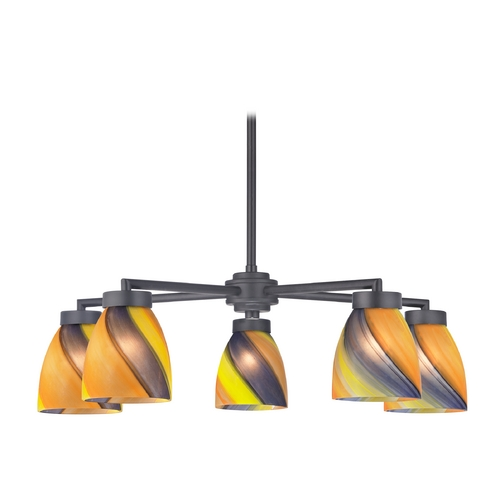 Design Classics Lighting Modern Chandelier with Five Lights and Art Glass in Black Finish 590-07 GL1015MB