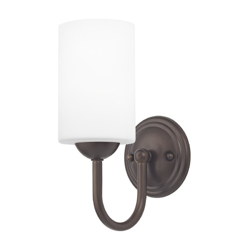 Design Classics Lighting Sconce with White Glass in Bronze Finish 593-220 GL1028C