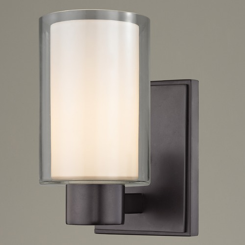 Design Classics Lighting Frosted Glass Sconce Bronze 2101-220 GL1061 GL1040C