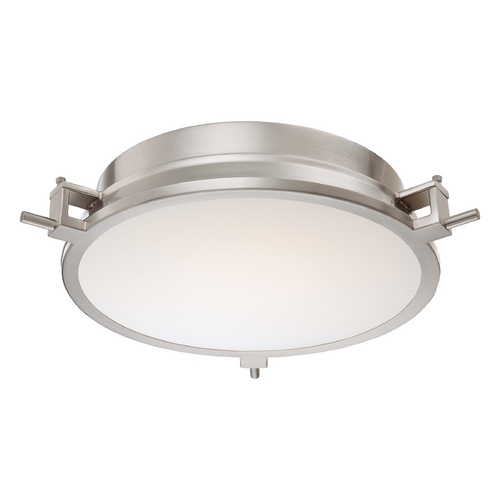 George Kovacs Lighting Modern LED Flushmount Light with White Glass in Brushed Nickel Finish P1109-084-L