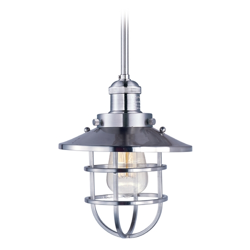 Maxim Lighting Maxim Lighting Mini Hi-Bay Polished Nickel Mini-Pendant Light with Coolie Shade 25050SN/BUI