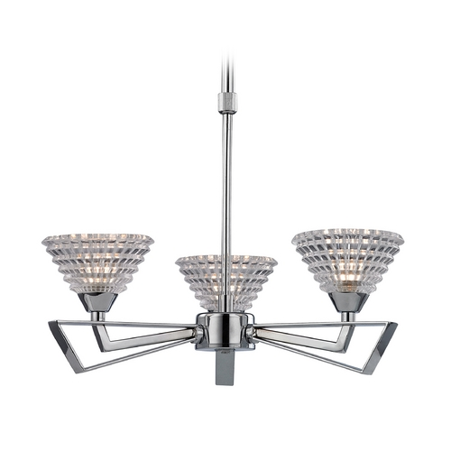 Elk Lighting Modern Mini-Chandelier with Clear Glass in Polished Chrome Finish 46153/3