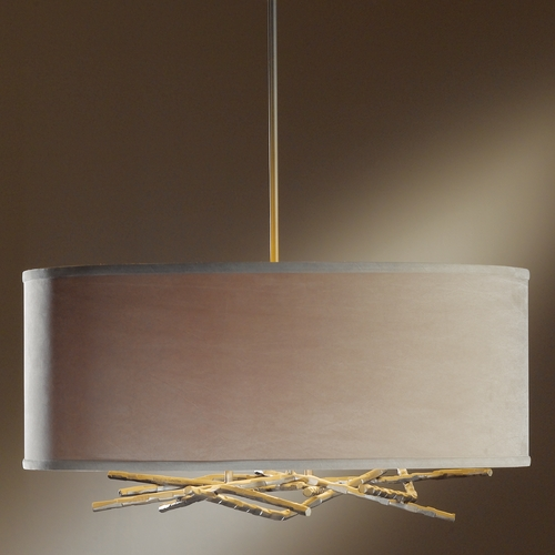 Hubbardton Forge Lighting Hubbardton Forge Lighting Brindille Dark Smoke Pendant Light with Drum Shade 137665-07-779