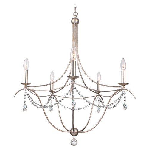 Crystorama Lighting Crystorama Hot Deal 5-Light Chandelier in Antique Silver 415-SA-CL-SAQ