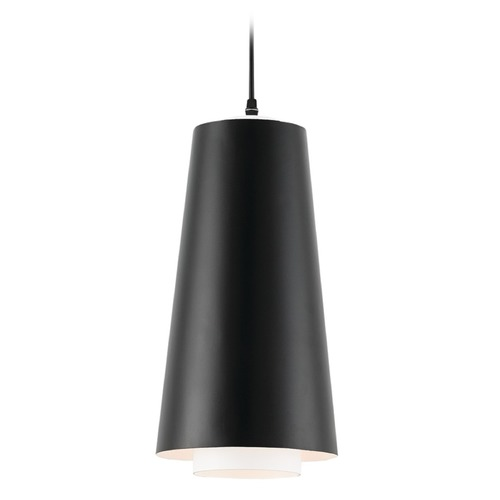 Currey and Company Lighting Currey and Company Bunny Williams Satin Black / White Pendant Light with Conical Shade 9000-0182