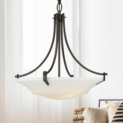 Sea Gull Lighting Modern Pendant Light with White Glass in Oil Rubbed Bronze Finish F2245/3ORB