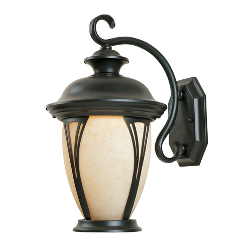 Designers Fountain Lighting Outdoor Wall Light with Amber Glass in Bronze Finish 30521-AM-BZ