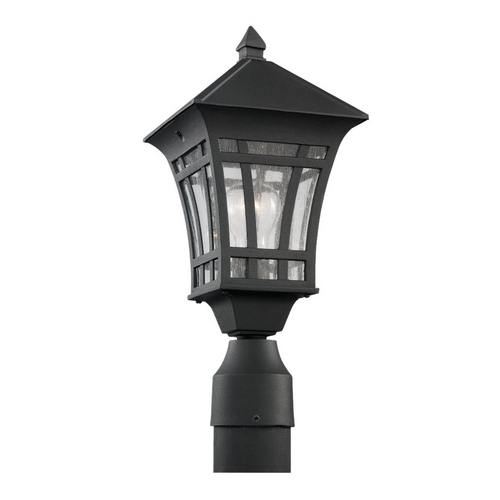 Sea Gull Lighting Post Light with Clear Glass in Black Finish 82131-12