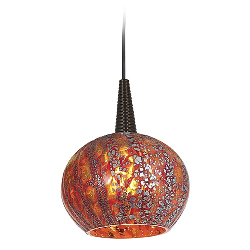 Access Lighting Modern Low Voltage LED Mini-Pendant Light with Red Glass 72980LED-BRZ/RRO