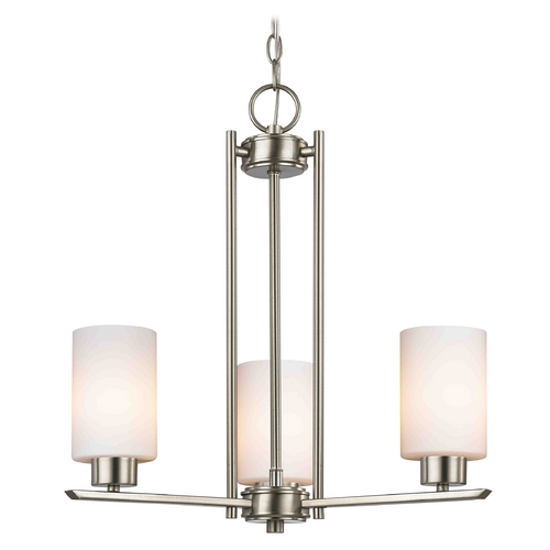 Design Classics Lighting Chandelier with White Glass in Satin Nickel - 3-Lights 1121-1-09 GL1028C