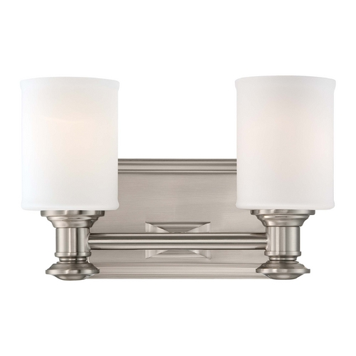 Minka Lavery Bathroom Light with White Glass in Brushed Nickel Finish 5172-84
