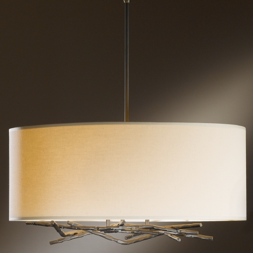 Hubbardton Forge Lighting Hubbardton Forge Lighting Brindille Dark Smoke Pendant Light with Drum Shade 137665-07-780