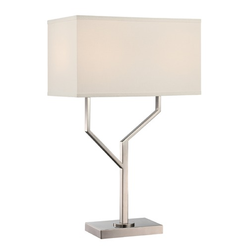 Lite Source Lighting Lite Source Joshua Polished Steel Table Lamp with Rectangle Shade LS-22613