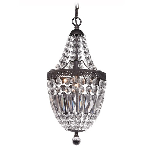 Sterling Lighting Mini Chandelier In Dark Bronze And Clear 122-026