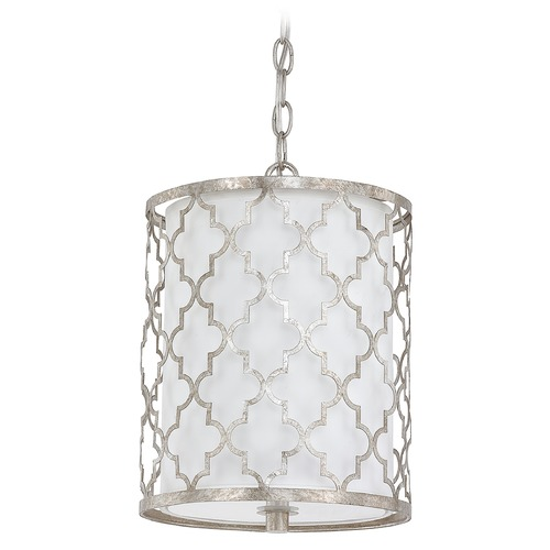Capital Lighting Capital Lighting Ellis Antique Silver Mini-Pendant Light with Cylindrical Shade 4544AS-579