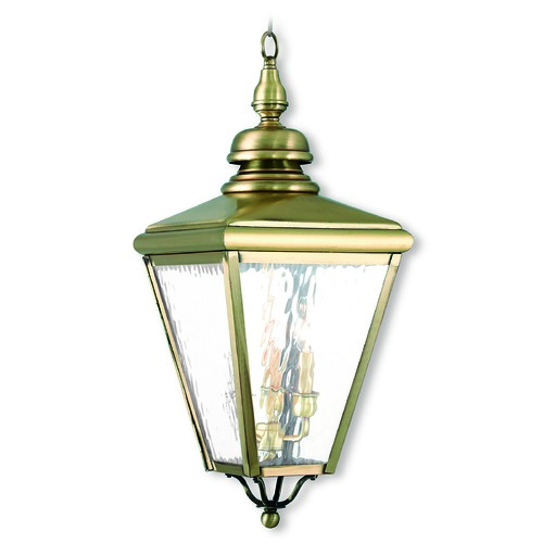 Livex Lighting Livex Lighting Cambridge Antique Brass Outdoor Hanging Light 2035-01