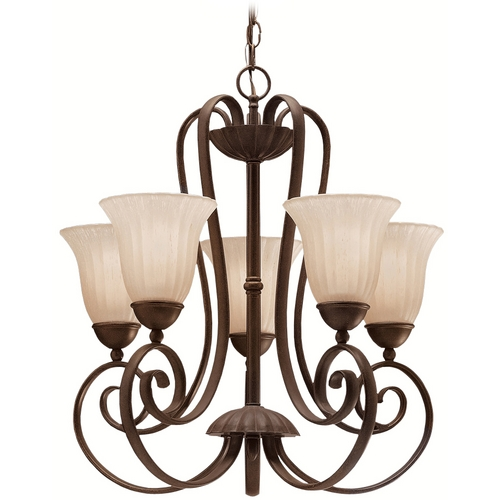 Kichler Lighting Kichler Chandelier with Beige / Cream Shades in Tannery Bronze Finish 1827TZ