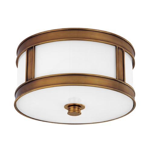 Hudson Valley Lighting Flushmount Light with White Glass in Aged Brass Finish 5510-AGB