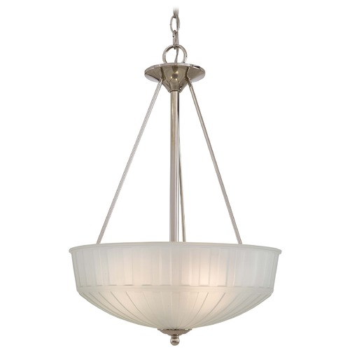 Minka Lighting Pendant Light with White Glass in Polished Nickel Finish 1737-1-613