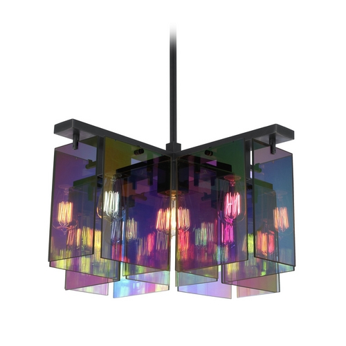 Sonneman Lighting Modern Pendant Light with Multi-Color Glass in Black Brass Finish 3175.51