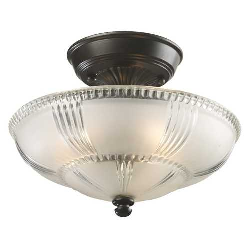 Elk Lighting Semi-Flushmount Light with White Glass in Oiled Bronze Finish 66335-3