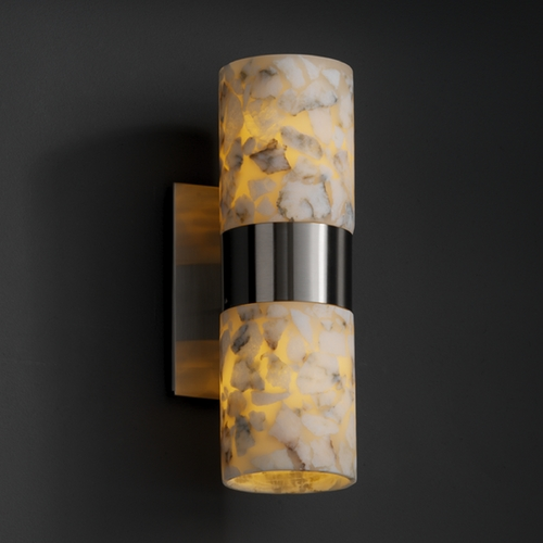Justice Design Group Justice Design Group Alabaster Rocks! Collection Sconce ALR-8762-10-NCKL