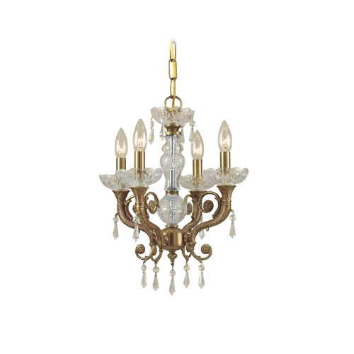 Crystorama Lighting Crystal Mini-Chandelier in Aged Brass Finish 5174-AG-CL-MWP