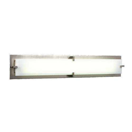 PLC Lighting Modern Bathroom Light with White Glass in Satin Nickel Finish 816 SN