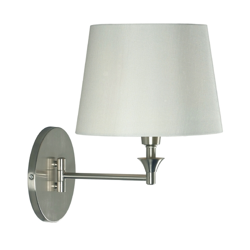 Kenroy Home Lighting Swing Arm Lamp with White Shade in Brushed Steel Finish 32180BS