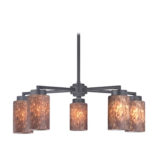 Design Classics Lighting Modern Chandelier with Five Lights and Brown Art Glass in Black Finish 590-07 GL1016C