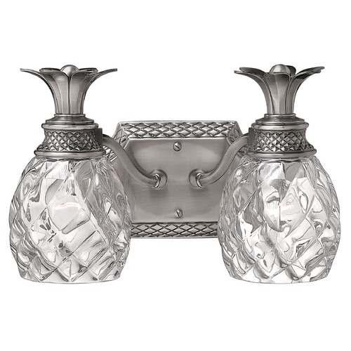 Hinkley 2-Light Polished Antique Nickel Pineapple Bathroom Light with Clear Glass 5312PL