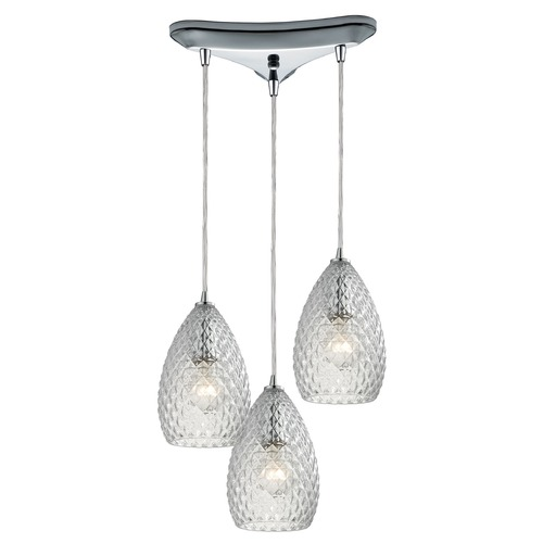 Elk Lighting Elk Lighting Geval Polished Chrome Multi-Light Pendant with Bowl / Dome Shade 10253/3CL