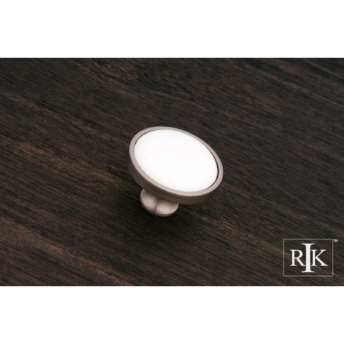 RK International Porcelain Pewter and White Knob CK515PW