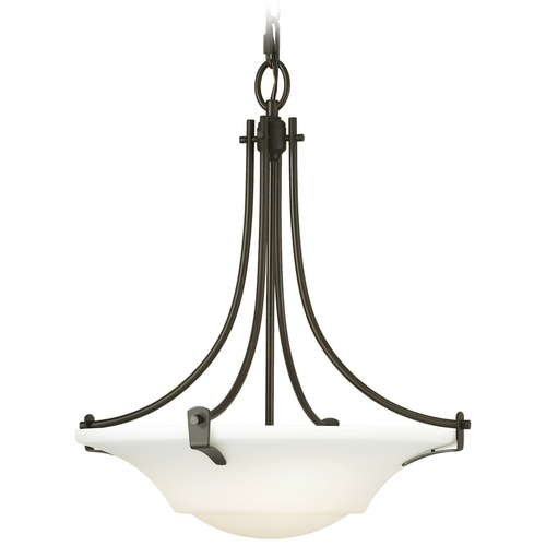 Sea Gull Lighting Modern Pendant Light with White Glass in Oil Rubbed Bronze Finish F2246/3ORB