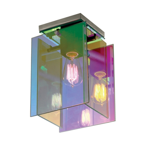 Sonneman Lighting Modern Flushmount Light with Multi-Color Glass in Satin Nickel Finish 3177.13